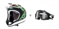 URGE 2013 Casque ARCHI-ENDURO VEGGIE VERT Taille L/XL + OAKLEY masque PROVEN MX Fibre de carbone w/ Clear Ref  01-724