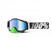 100% Masque RACECRAFT Gunmetal Vert écran miroir Bleu