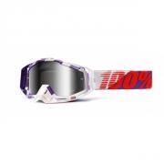 100% Masque RACECRAFT Violet Blanc écran miroir