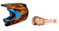 TROY LEE DESIGNS 2014 Casque D3 THUNDER ORANGE CARBON Taille S  + 100% Masque ACCURI Orange Caltrans écran transparent